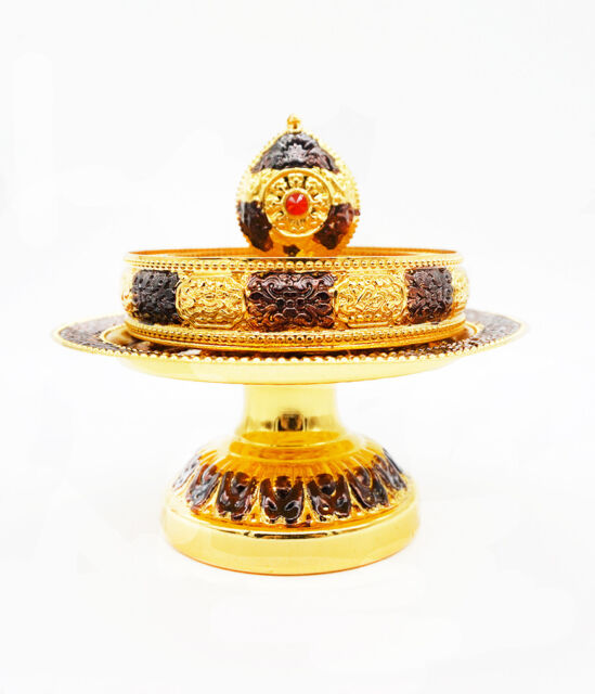 Tibet Tibetan Buddhism Altar Mandala Manza Set Tray Silvering Buddhist Offering