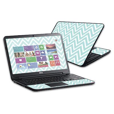 "Skin Decal Wrap for Dell Inspiron 15 i15RV Laptop 15.6"" Aqua Chevron"