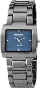 Excellanc-Damenuhr-Blau-Titan-Look-Strass-Analog-Metall-Quarz-X180373000020