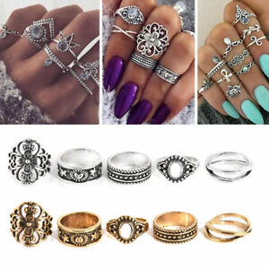 Retro-Silver-Gold-Boho-Arrow-Moon-Flower-Midi-Finger-Knuckle-Rings-12Pcs-Set
