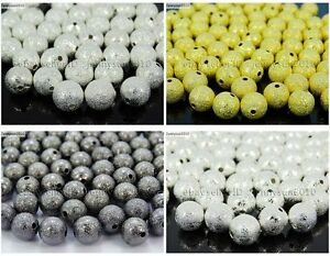 100pcs-Stardust-Round-Spacer-Beads-Silver-Gold-Gunmetal-Plated-8mm-10mm-12mm