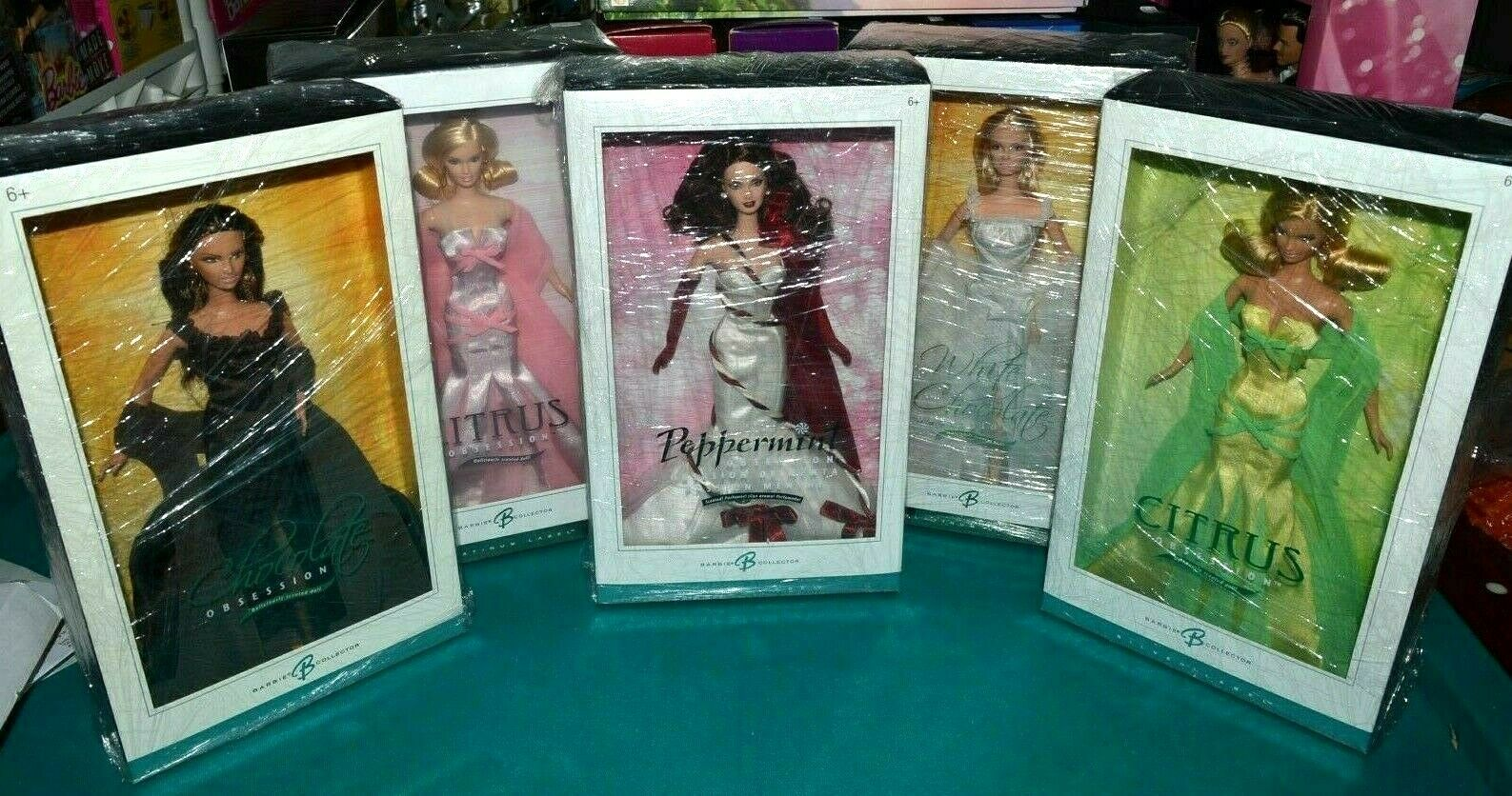 NIB-2005 Weiß, CHOCOLATE, PEPPERMINT, 2X CITRUS OBSESSION BARBIE DOLLS PLATINUM