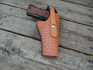 """Leather 22 Cal Black- Tooled Right Hand Gun Holster #61-4 to 5/""""  Barrel"""