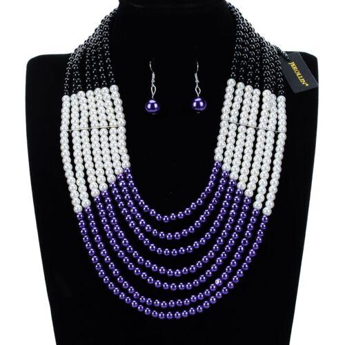Fashion Jewelry Chain Resin Pearl Choker Chunky Statement Pendant Bib Necklace