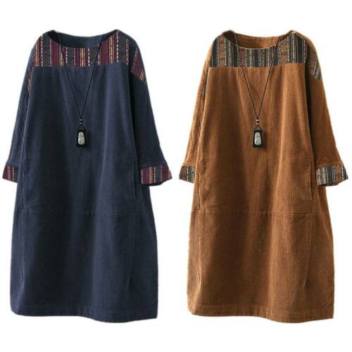 Plus Size Womens Corduroy Long Sleeve Casual Loose Tunic Tops Short Mini Dress