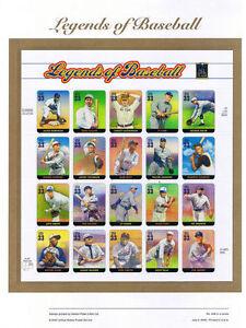 #608 33c Legends of Baseball MS20 #3408 USPS Commemorative Stamp Panel