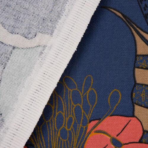 Dekostoff Baumwolle ECHINOPS große Blumen Blüten Blätter blau bunt 1,5m Breite
