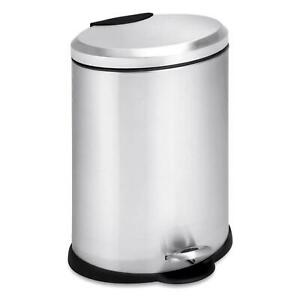 Details about Stainless Steel Step On Trash Can with Lid 3 Gallon Office  Kitchen Garbage Bin