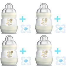4 x MAM Anti-Colic Baby Bottles Cream + Soother's 130ml Self Sterilising