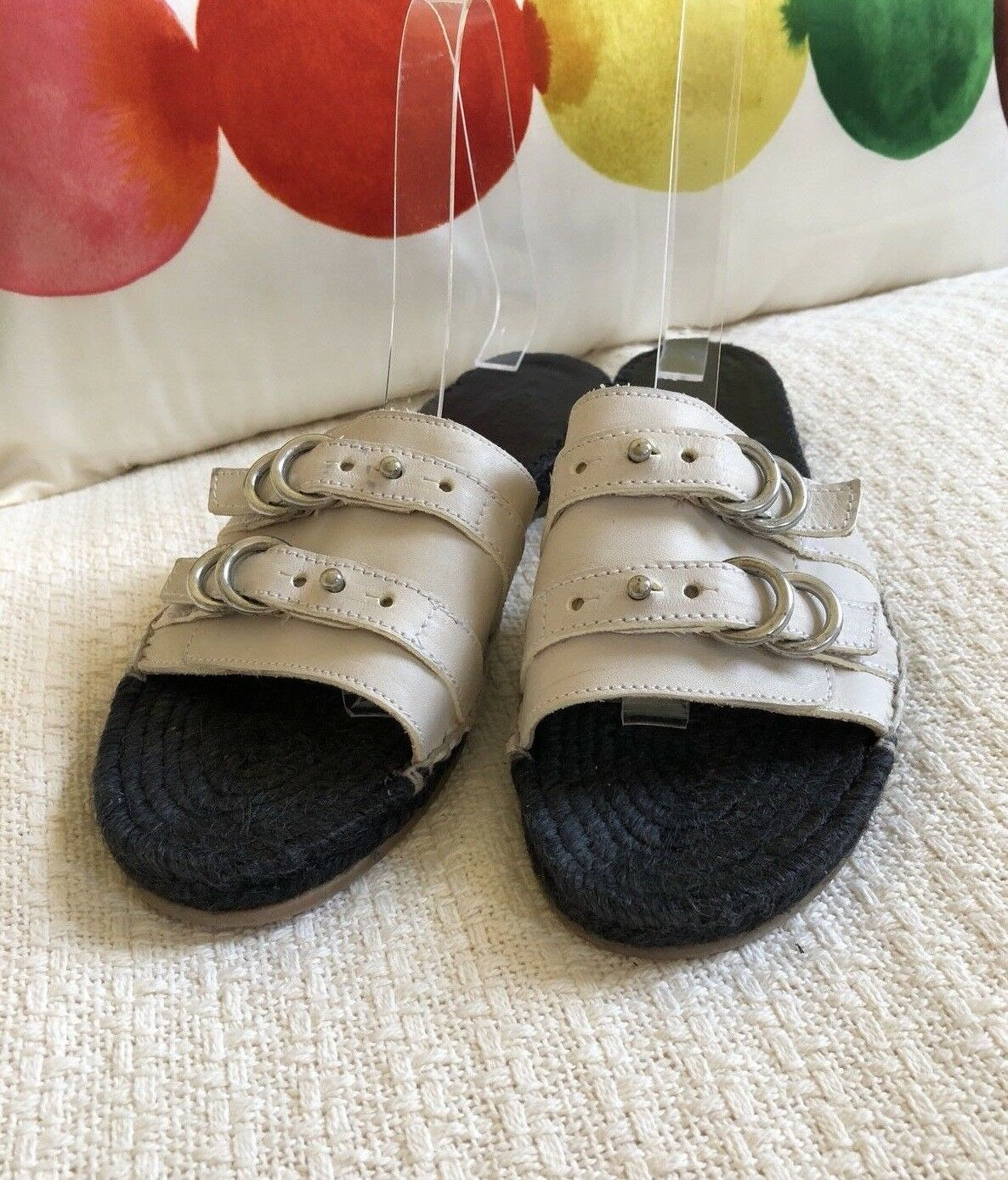 Rag & Bone Jules Leather Slide Sandals Ivory Ivory Ivory Couleur Taille 38 ½ New 349f61