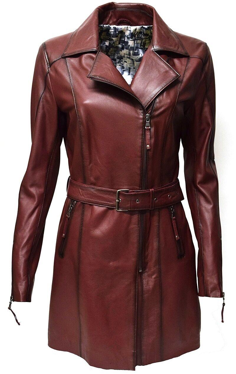 Damen Ledermantel echt Leder Rot Dunkelrot washed weich Reverskragen | Hervorragende Eigenschaften  | Mode-Muster  | Marke  | Erste in seiner Klasse  | Erste Gruppe von Kunden