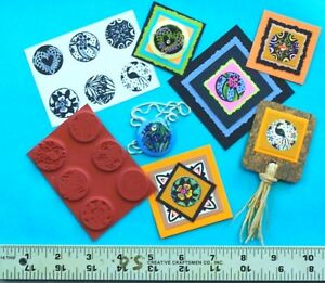 6-Assorted-1-034-Round-Unmounted-Rubber-Stamps-for-Clay-Paper-Shrink-Art-PMC-Art