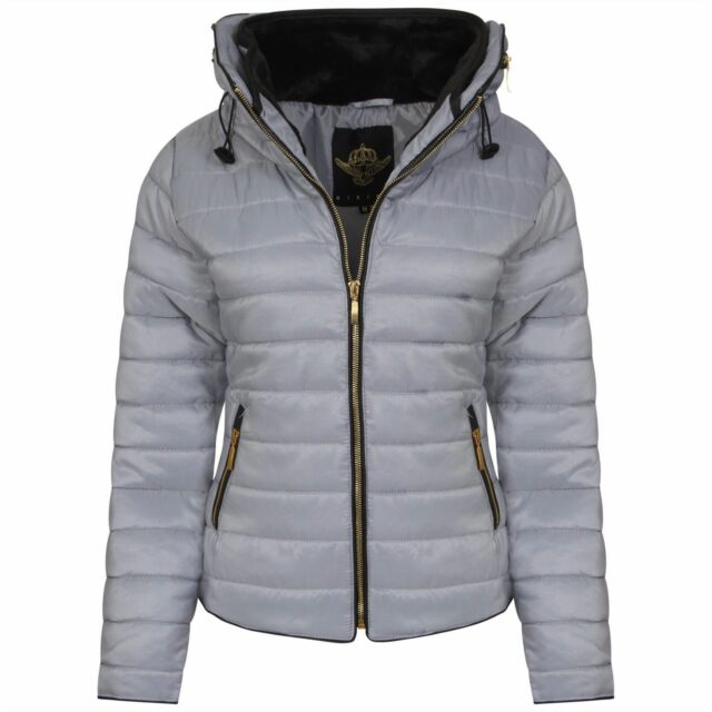 d0250c134181a Women Fur Collar Quilted Padded Puffer Bubble Warm Thick Jacket Coat ...