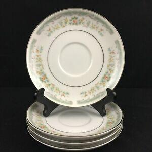 Set-of-4-VTG-Saucer-Plates-Roseville-Japan-Translucent-Fine-China-4135-Floral