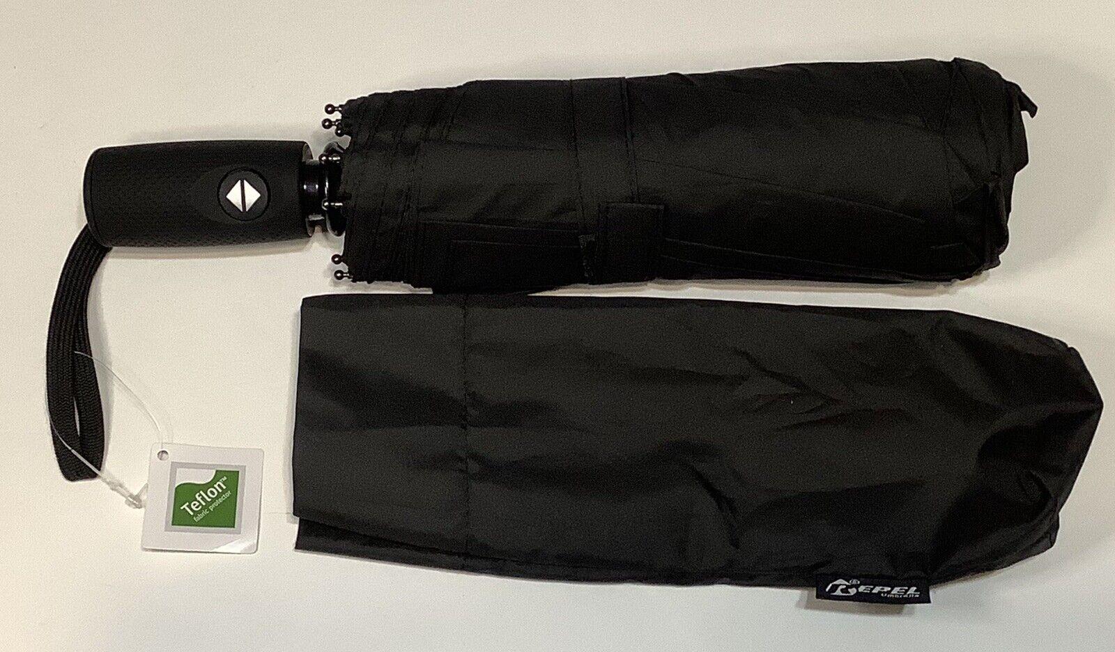 Repel Windproof Automatic Travel Umbrella Spring Loaded Teflon Coating Black