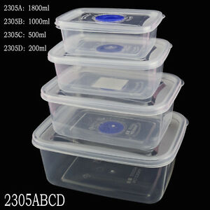 Small Medium Large Size Plastic Clear Storage Food Box Container