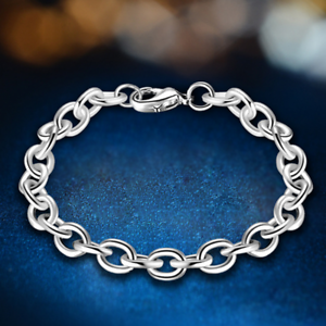 Womens-925-Silver-Plated-Bangle-Ring-Charm-Chain-Fashion-Party-Jewelry-Bracelet