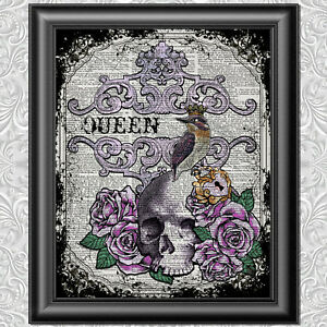 DICTIONARY-PAGE-ART-PRINT-VINTAGE-ANTIQUE-BOOK-QUEEN-BIRD-Picture