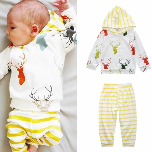 Newborn Baby Girls Boys Long Sleeve Hooded Tops Pants 2pcs Clothes Outfits