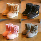 Winter Kids Girls Boy Suede Boots Casual Shoes Snow Keep Warm Knit Ankle Booties