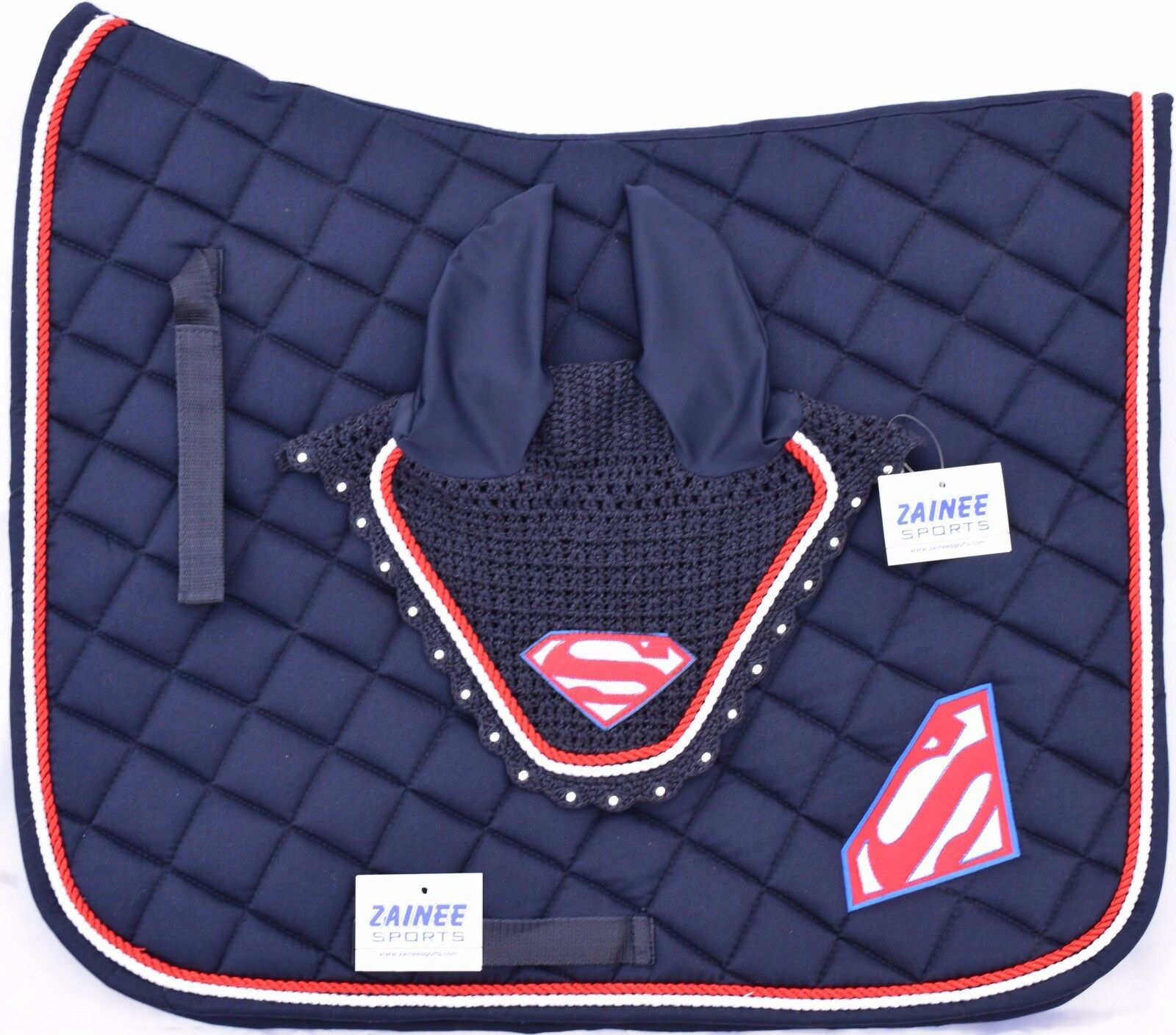 SUPER MAN SADDLE PAD SET FLY VEIL HORSE BONNET DIAMANTE EQUESTRIAN ZAINEE SPORTS