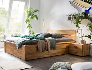 Massivholzbett Cleo Wildeiche geölt + Rost + Matratze Auswahl Größe Nachttisch