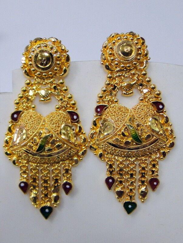 gold earrings 22K Indian jewelry Fine handmade traditional wedding gift jewelry