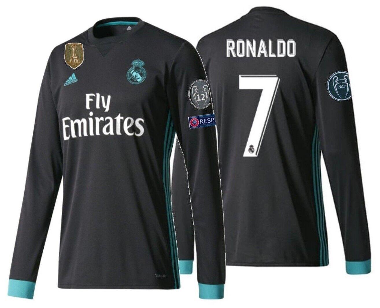 Adidas C. Ronaldo Real Madrid UEFA Liga de Campeones Ls Away Jersey 2017 18