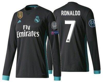 size 40 2c95e 65330 ADIDAS C. RONALDO REAL MADRID UEFA CHAMPIONS LEAGUE LS AWAY JERSEY 2017/18.  | eBay