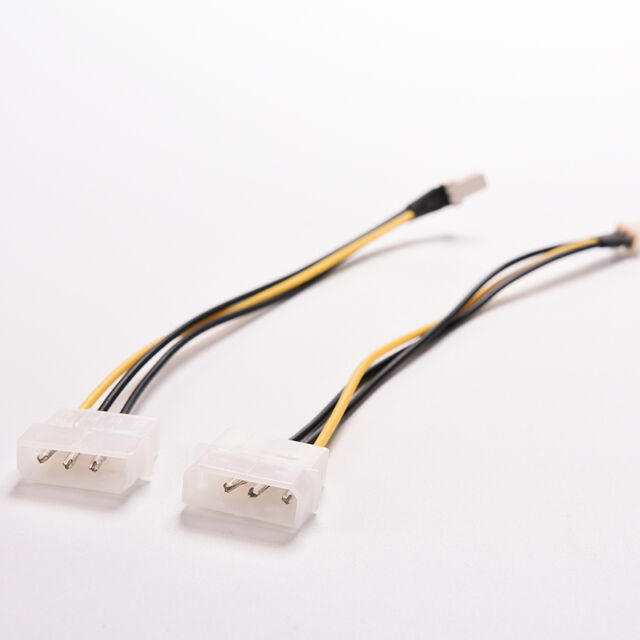 2X 4-Pin Molex/IDE to 3-Pin CPU/Case Fan Power Connector Cable Adapter 20cm gT