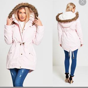 Ladies Fur Parka Allure Pink Cotton Womens Trimmed Fishtail rrqwP