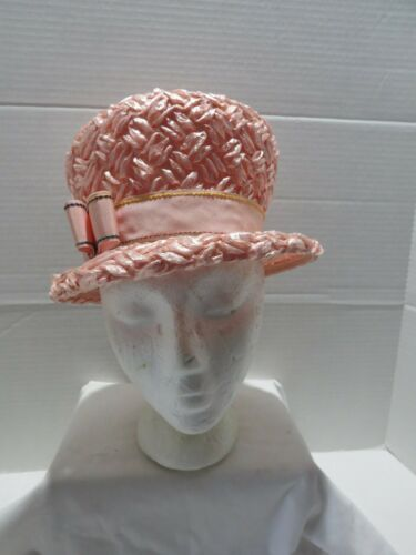 VINTAGE PINK STRAW BUCKET STYLE STRAW HAT EASTER/… - image 1