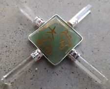 4 point green aventurine quartz crystal generator~reiki and pentagram symbols