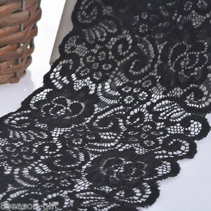 5Yards-14cm-Black-Elastic-Lace-Trim-Ribbon-Fabric-Crafts-Sewing-Suppies