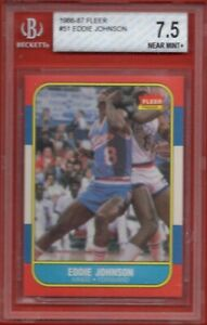 1986 Fleer #51 Eddie Johnson BGS 7.5 Sacramento Kings Centering Edges Surface 8