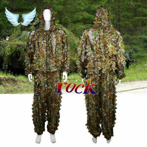 Leaf-Ghillie-Suit-Woodland-Camo-Camouflage-clothing-3D-jungle-Hunting-Hide-BP