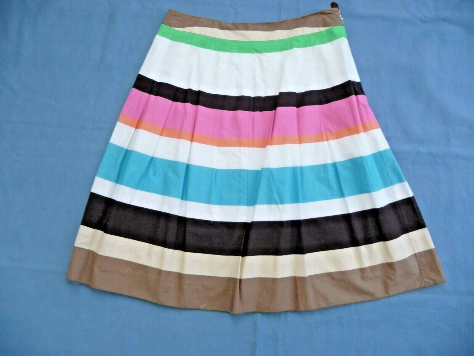 Talbots NWT 8P Skirt 100% Cotton Lined Pleated White w  Bright Stripes 23.5