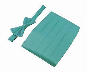 Men's Premium 100% Pure Silk Cummerbund & Bow Tie Set GIFT 22 COLORS