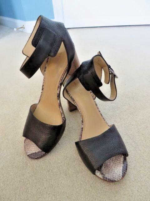 Women's Size 7 Toe M Black Leather Open Toe 7 Ankle Strap Heel Sandal Shoe Marc Fisher a38d47