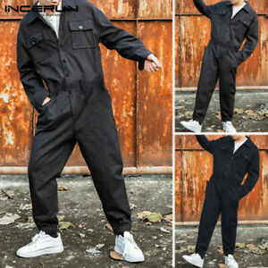 INCERUN Men/'s Cargo Long Sleeve Jumpsuit Pants Rompers Work Trousers Playsuits