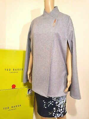 TED BAKER LONDON AILLAA GREY WOOL /& CASHMERE CAPE BNWT UK 12 TED 3 US 8 RRP £199