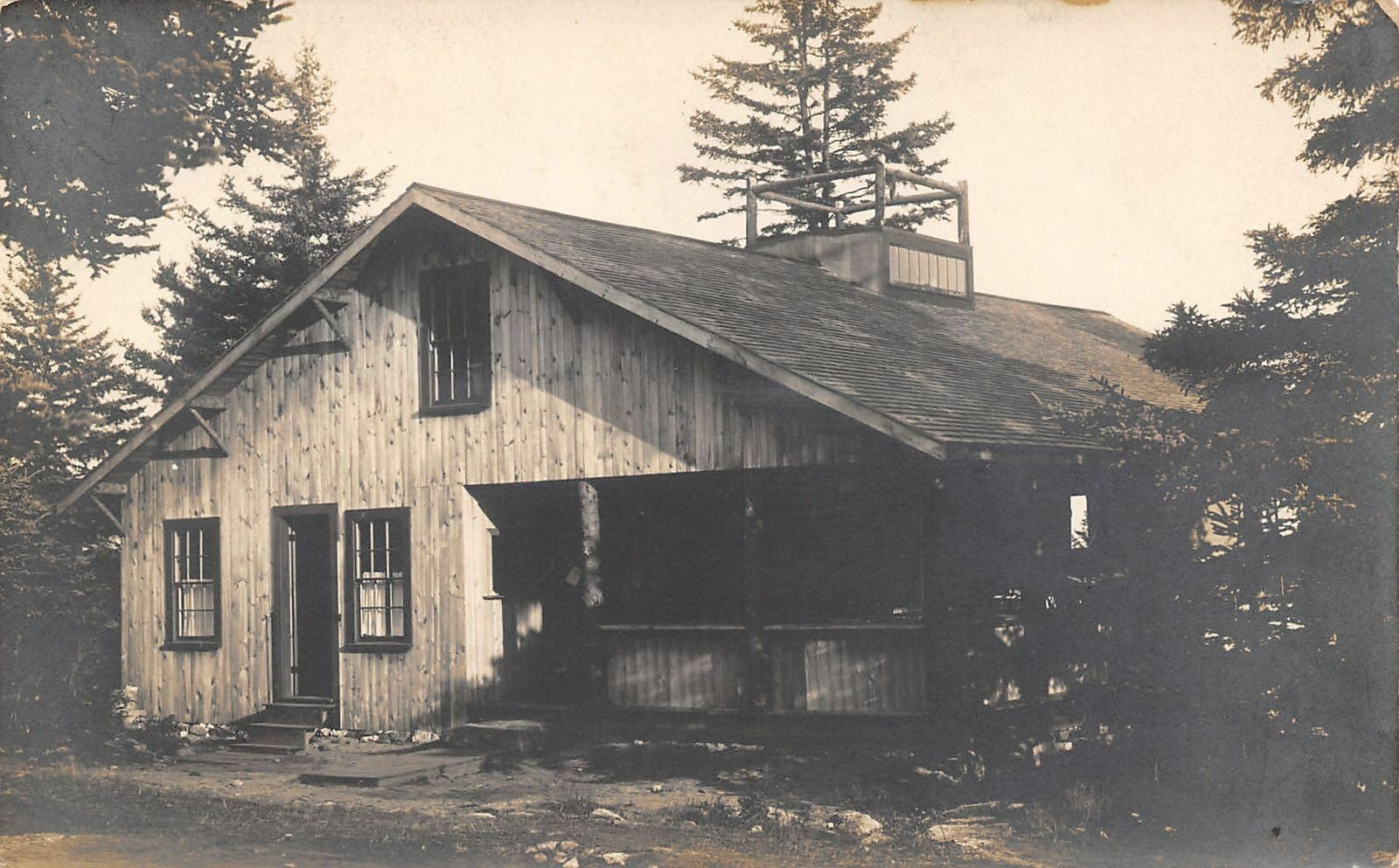 Boothbay Harbor Maine~JA Labbie Photographer~Pine Cabin in Woods~c1912 RPPC