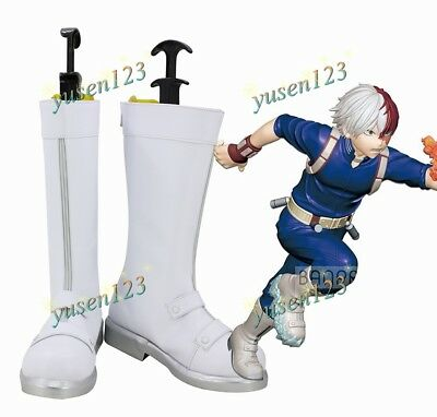 My Hero Academia Todoroki Shoto White Boots Cosplay Men/'s Shoes Customized