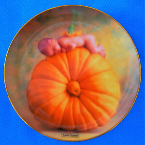 Vintage-Collectable-Wall-Plate-First-Issue-in-Anne-Geddes-034-Country-Pumpkin-034-1995