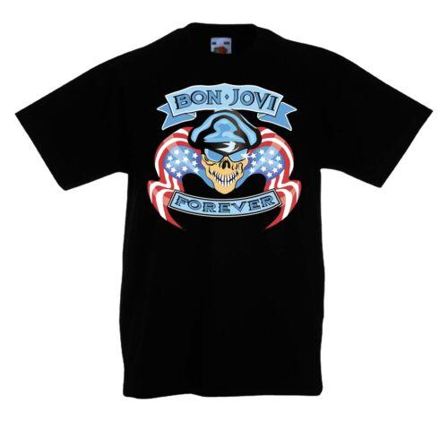 Bambini//Kid//Teenage Black T-shirt Bon Jovi 5 rock fun tè unisex manica corta//manica lunga