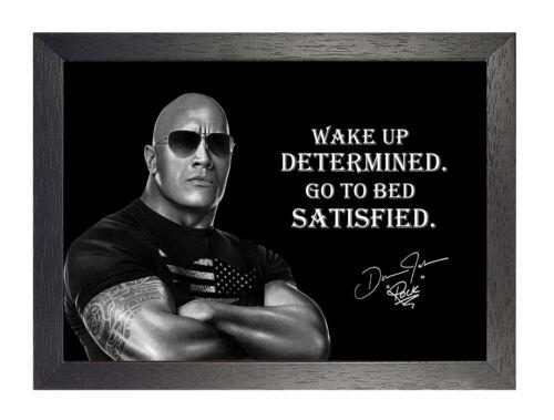 Dwayne Johnson Wake Up Black White Motivation Quote Poster Glasses Signature