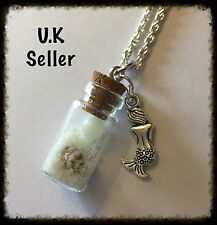 Mermaid Tear Bottle Necklace. Glow In The Dark Sand And Ball. Tiny Shell.