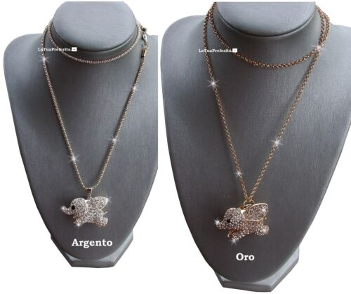 portafortuna Dolce Elefantino -Elefante -cristalli Fashion-Moda collana  regalo