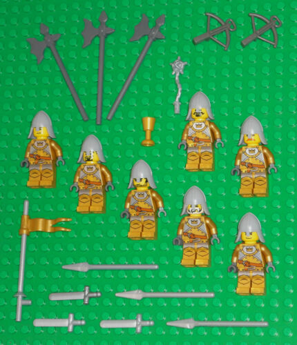 LEGO Minifigures Lot 7 Crown Gold Castle Knights Swords Lego Minifigs People