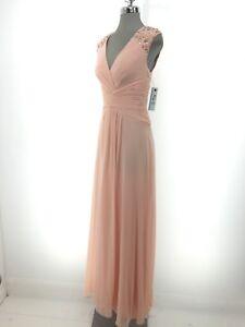 b07847ef1884 Image is loading Eliza-J-NWT-Stunning-PEACH-Embellished-Chiffon-Gown-